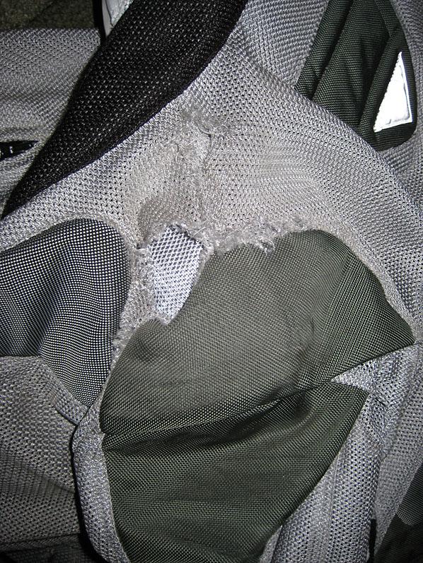 Left shoulder of the jacket