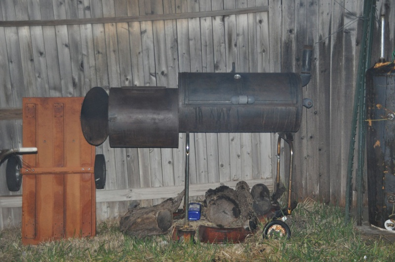 Smokey photo of the BBQ pit.
