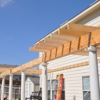 Column header and ceiling joists nearly complete.